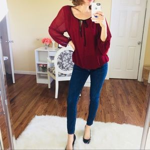 Vince Camuto Sheer Flowy Red Black Dot Blouse Top